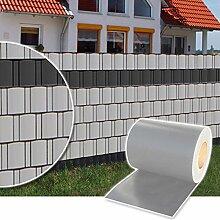 Sichtschutz Rolle 35m blickdicht PVC Zaunfolie Windschutz für Doppelstabmatten Zaun (Grau)