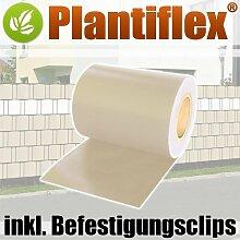 Sichtschutz Rolle 35m blickdicht PVC Zaunfolie Windschutz für Doppelstabmatten Zaun (Beige)