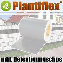 Sichtschutz Rolle 35m blickdicht PVC Zaunfolie Windschutz für Doppelstabmatten Zaun (Weiß)