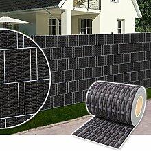 Sichtschutz Rolle 35m blickdicht PVC Zaunfolie Windschutz für Doppelstabmatten Zaun (Rattan-Anthrazit)