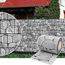 Sichtschutz Rolle 35m blickdicht PVC Zaunfolie Windschutz für Doppelstabmatten Zaun (Stein-Grau)