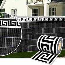 Sichtschutz Rolle 35m blickdicht PVC Zaunfolie Windschutz für Doppelstabmatten Zaun (Zierstreifen-Modern)