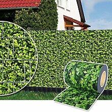 Sichtschutz Rolle 35m blickdicht PVC Zaunfolie Windschutz für Doppelstabmatten Zaun (Buchsbaum)