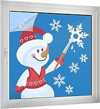 Sichtschutz Schneemann mit Schneeflocken B x H: 90cm x 90cm von Klebefieber®
