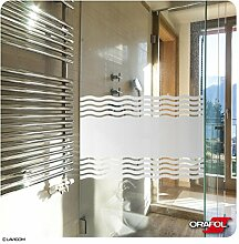 Sichtschutzfolie Duschkabine Dusche Umkleide Sauna Sichtschutz Bad WC Wellen - Glasdekorfolie inkl. kostenloser Maßanfertigung