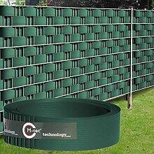 Sichtschutzstreifen Hart - PVC ✔ 2,52m x 9,5cm ✔ moosgrün ✔ 18 Streifen ✔ - SIE KAUFEN HIER DIREKT BEIM HERSTELLER -