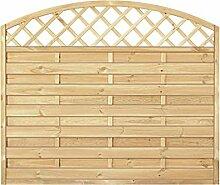 Sichtschutzzaun Holz Bogen mit Gitter