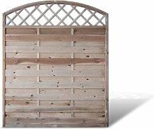 """Sichtschutzzaun / Holzzaun mit Doppelbogen + Rankgitter Maß 150 x 180 auf 160 cm (Breite x Höhe) aus Kiefer / Fichte Holz, druckimprägniert """"Berlin Doppelbogen"""