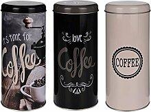 SIDCO ® 3 x Kaffeepaddose Dekodose Aufbewahrungsbehälter für Kaffeepads Vintage Look verschiedene Designs