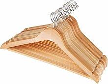 SIDCO ® Holz Kleiderbügel mit Hosenstange und Rockkerbe 360 Grad drehbar Holzbügel 20 Stück