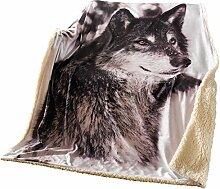 SIDCO Kuscheldecke Wolf Plüschdecke Pelzdecke