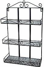 SIDCO ® Wandregal Hängeregal Metall Küchenregal Blumenregal Regal schwarz 3 Ablagefläche