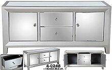 Sideboard C/2Schubladen + 2Türen Holz C/Spiegel Silber