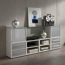 Sideboard für Büro Weiß Grauglas