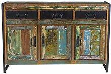 Sideboard Recyceltes Altholz mit schwarzen Altmetall und Gebrauchsspuren bunt mit antikschwarz