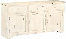 Sideboard Weiß 160 x 40 x 80 cm Massivholz Mango