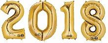 SiDeSo® 4 Folienballon XXL ZAHL 2018 GOLD Heliumgeeignet Silvester Jahreswechsel Party Geburtstag Jahrestag Hochzeitstag