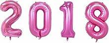SiDeSo® 4 Folienballon XXL ZAHL 2018 ROSA Heliumgeeignet Silvester Jahreswechsel Party Geburtstag Jahrestag Hochzeitstag