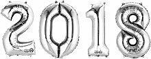 SiDeSo® 4 Folienballon XXL ZAHL 2018 SILBERHeliumgeeignet Silvester Jahreswechsel Party Geburtstag Jahrestag Hochzeitstag