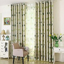 Sieben-Kleeblätter unelastisch Polyester Schatten Tuch Druck Dicke Schattierungen Jalousien Fenster Vorhang, 100 * 250cm, 1 Tafel , green bottom yarn