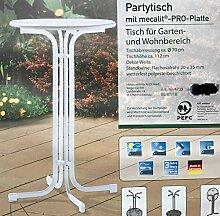 SIEGER Stehtisch klappbar, MADE IN GERMANY, 70 cm rund, Höhe 112 cm, weiß farbenes Gestell, wetterfeste mecalit ®-PRO-Platte