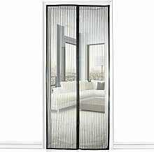 SIEGES Moskitonetz Tür, Magnet Fliegengitter Tür Insektenschutz 90 x 210CM, Der Magnetvorhang ist Ideal für die Balkontür, Kellertür, Terrassentür, Kinderleichte Klebemontage Ganz Ohne Bohren (Schwarz)