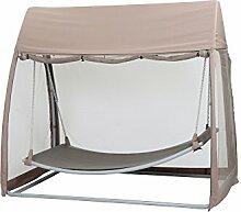 Siena Garden 209133 Hängematte Stahl-Gestell silber Ranotex®-Gewebe 2*1 taupe Inkl. Moskitonetz, Kopfpolster