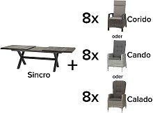 Siena Garden Garten Set Sincro Ausziehtisch mit 8