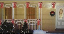 Sienna Set of Swag Style Christmas Lights with Red Shimmering Bow and White Wire by Sienna