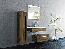 Sieper Badmöbel Badmöbelset Leone mit Hochschrank - Unterschrank 80cm Breit -walnuss - Badmöbel Badezimmermöbel Waschtisch Unterschrank Badmöbel Se