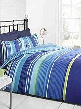 Signature Bettwäscheset, Gestreift, Bett- und Kissenbezug, Blau, Hellblau, Grün, Weiß, Einzelbe