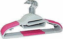 Signature Home ABS Kleiderbügel, Grau, mit Schwarz Streifen, 18Stück Gray with Pink Strips