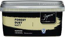 Signeo Bunte Wandfarbe, FOREST DUST, Olivgrün, matt, elegant-matte Oberflächen, Innenfarbe, 1 Liter