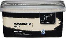 Signeo Bunte Wandfarbe, MACCHIATO, Creme, matt, elegant-matte Oberflächen, Innenfarbe, 1 Liter