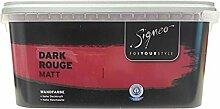 Signeo Bunte Wandfarbe matt, elegant-matte Oberflächen, Innenfarbe, 1 Liter Farbton Wählbar, Farbe:Dark Rouge