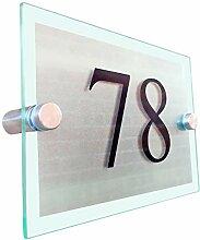 signs4home Modernes Hausnummer Glas Acryl geätz