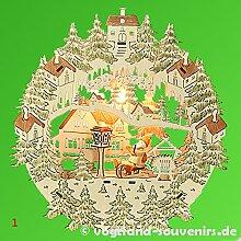 Sigro Vogtland Souvenir Santa auf Schlitten Fenster Bild, 31x 29x 6cm, Holz, braun/grün, 29x 6x 31cm