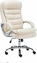 SIKALO Büro-Stuhl, Sessel für Schwergewichte, stabiler Drehstuhl mit Gasdruckfeder, Chefsessel aus cremefarbenem Kunstleder für starke Belastung