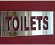 Silber Acryl Spiegel WC-Türschild, TOILETS 35cm x