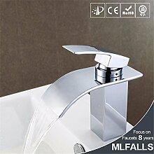 Silber-All-Kupfer quadratischen Körper einzigen Griff Waschbecken Waschbecken Wasserhahn