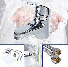 Silber Badarmatur Wasserhahn Waschtisch Mischbatterie Waschbecken Einhebelmischer Für kaltes und warmes Wasser