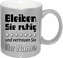 Silber Effekt Namenstasse/Geburtstag zb. mit Bernd