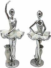 Silber Emaille Schöne Ballerina Figuren. Zwei eleganten Skulptur Mädchen. Sentimental Geschenkidee (23,5)