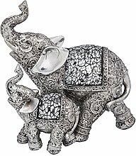 Silber geätzt Elefant und Baby Skulptur