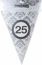 Silber Hochzeit Wimpel Girlande ' 25 ' Party Deko Silberhochzeit silberne