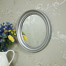 Silber Oval abgeschrägten Rahmen Wandspiegel