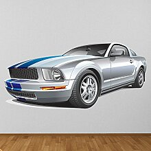 Silber und blauer Ford Mustang Wandaufkleber Klassisches Auto Wandtattoo Jungen Garage Dekor Erhältlich in 8 Größen X-Groß Digital