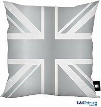 Silber Union Jack Design Kissen 45,7x 45,7cm tolle Geschenkidee hergestellt in Yorkshire