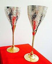 Silber & Vergoldet Gravur Goblet Champagner Flöten Coupes Wein Glas (Set von 2)