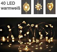 Silberdraht Micro Lichterkette 40 LED - Diamant Herz Stern Drahtlichterkette 2m - batteriebetrieben Diaman